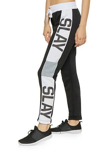 Slay Graphic Sweatpants,BLACK,large