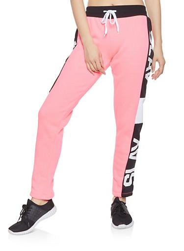 Slay Graphic Sweatpants,PINK,large
