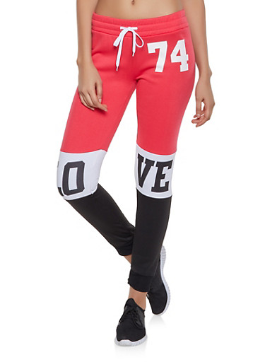 Love Graphic Color Block Sweatpants,RED,large