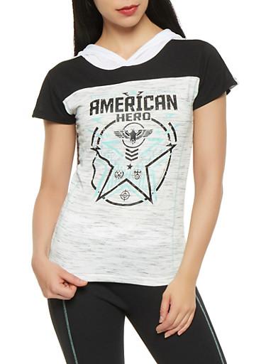 American Hero Graphic Hooded Tee,BLACK,large