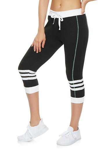 Striped Knee Capri Sweatpants,BLACK,large