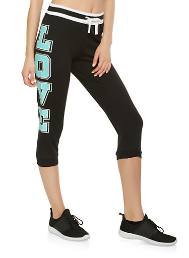 Love Graphic Capri Sweatpants,BLACK,large