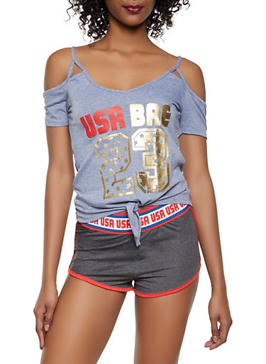 USA Bae Graphic Cold Shoulder Top,GRAY,large