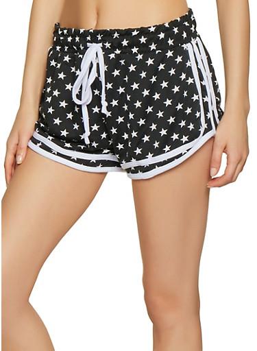 Star Print Dolphin Shorts,BLACK/WHITE,large