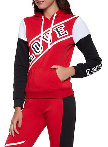 Love Pullover Sweatshirt,RED,large