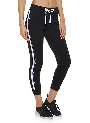 Side Stripe Rhinestone Studded Joggers,BLACK,large