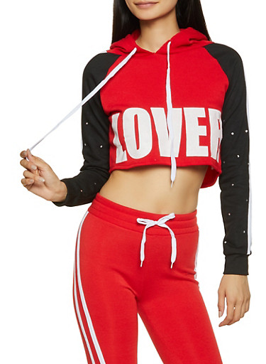 Lover Cropped Sweatshirt,RED,large