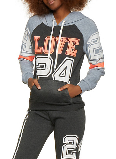 Love 24 Pullover Sweatshirt,CHARCOAL,large