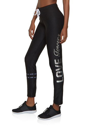 Love Forever Active Pants,BLACK/WHITE,large