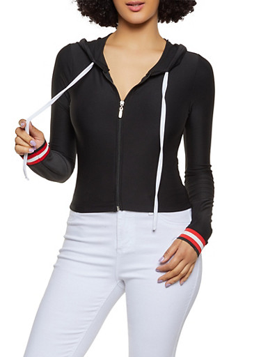 Striped Tape Detail Zip Front Active Top,BLACK,large