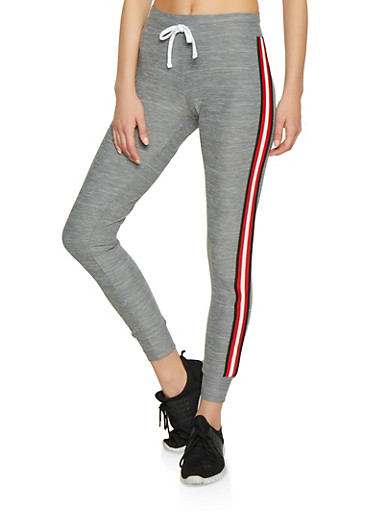 Striped Tape Drawstring Waist Joggers,HEATHER,large