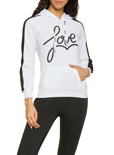 Love Hooded Sweatshirt,BLACK/WHITE,large