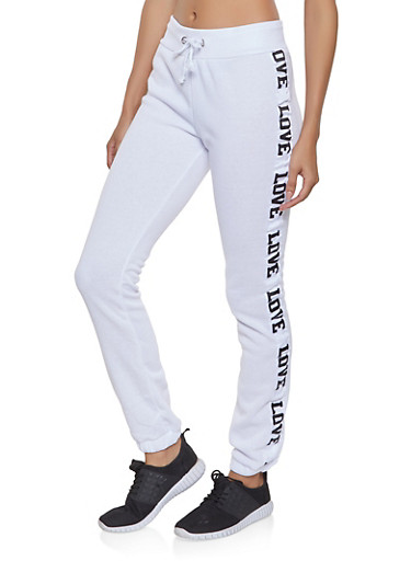 Love Graphic Tape Sweatpants,BLACK/WHITE,large