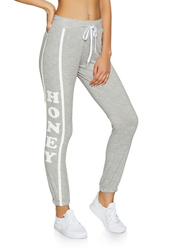 Honey Graphic Joggers,GRAY,large