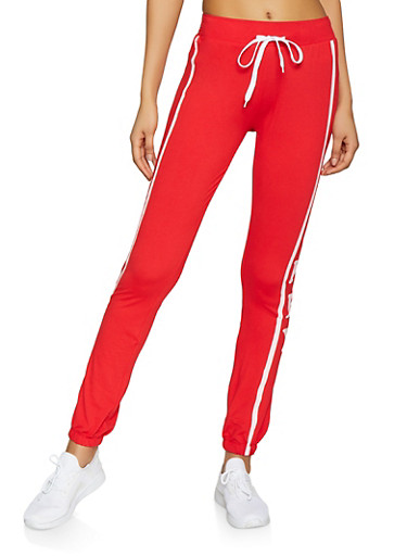 Honey Graphic Joggers,RED,large