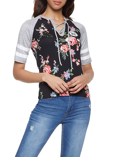 Floral Color Block Raglan Tee,PINK,large