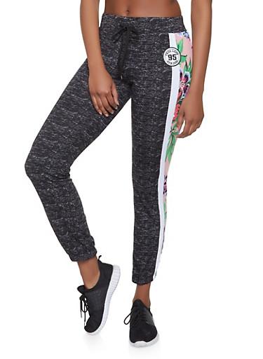 Floral Side Stripe Sweatpants,MAUVE,large