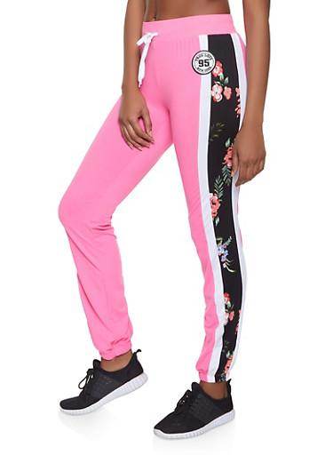 Floral Side Stripe Sweatpants,PINK,large