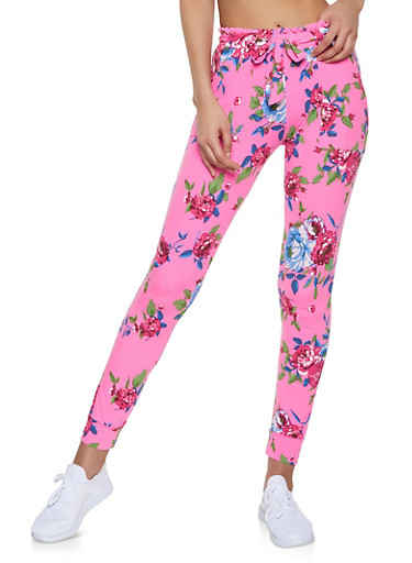 Floral Tie Waist Joggers,PINK,large