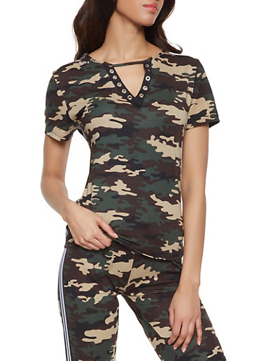Striped Tape Trim Printed Tee,OLIVE,large