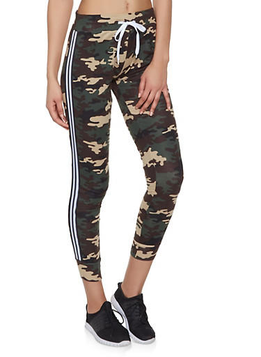 Striped Tape Trim Printed Joggers,OLIVE,large