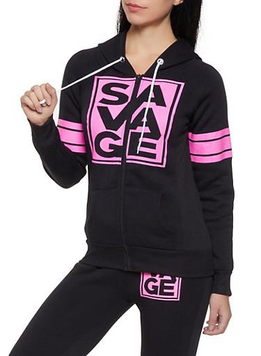 Savage Graphic Sweatshirt,BLACK,large