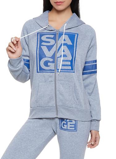 Savage Graphic Sweatshirt,HEATHER,large