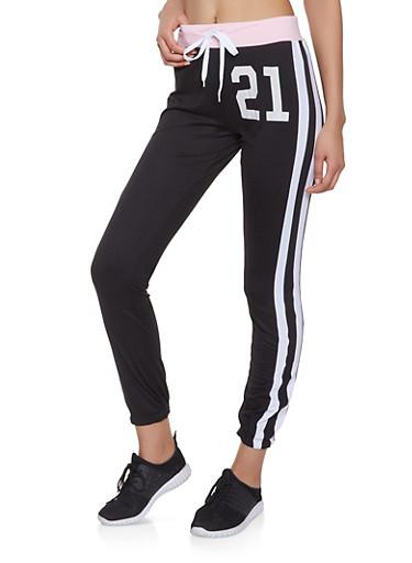 21 Graphic Varsity Stripe Sweatpants,BLACK,large