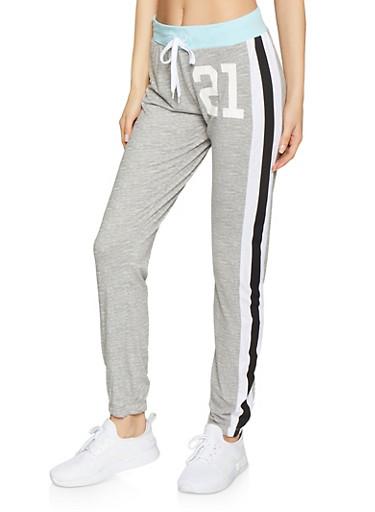 21 Graphic Varsity Stripe Sweatpants,GRAY,large
