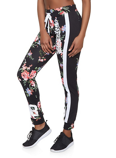 Brooklyn Athletic Dept Graphic Printed Joggers,BLACK/WHITE,large