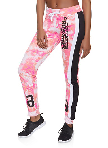 Brooklyn Athletic Dept Graphic Printed Joggers,CORAL,large