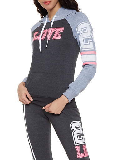 cc56842c6e7c5 Love Graphic Color Block Sweatshirt,CHARCOAL,large