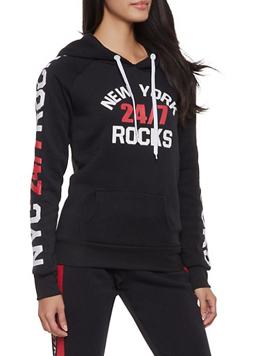 New York Rocks Graphic Sweatshirt,BLACK,large