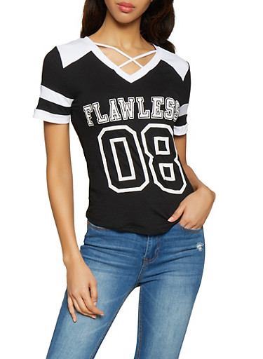 Flawless Graphic Caged Tee,BLACK/WHITE,large