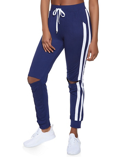Side Stripe Distressed Joggers,NAVY,large