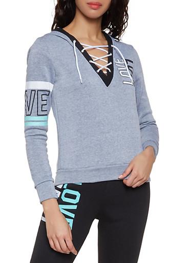 Lace Up Love Sweatshirt,HEATHER,large