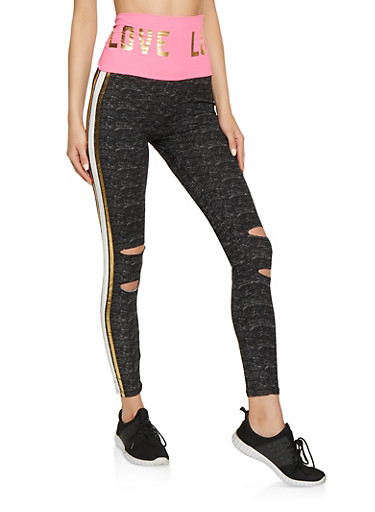 Foil Love Waistband Ripped Leggings,PINK,large