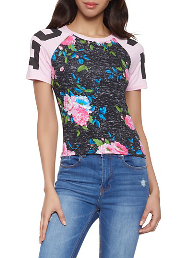 Floral Love Graphic Tee,CHARCOAL,large