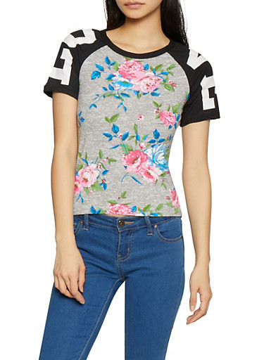 Floral Love Graphic Tee,GRAY,large