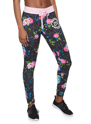 Love Graphic Floral Joggers,CHARCOAL,large