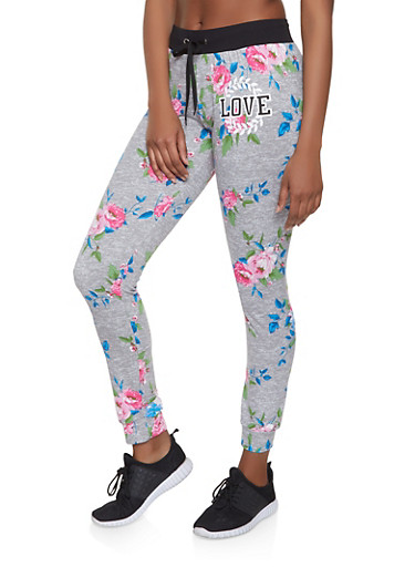 Love Graphic Floral Joggers,GRAY,large