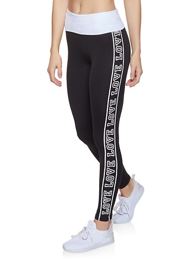 Love Graphic Leggings,BLACK/WHITE,large