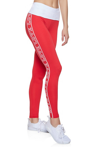 Love Graphic Leggings,RED,large