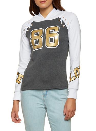 Color Block 86 Lace Up Sweatshirt,CHARCOAL,large