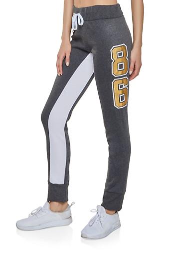 86 Graphic Sweatpants,CHARCOAL,large
