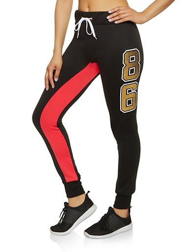 86 Graphic Sweatpants,RED,large