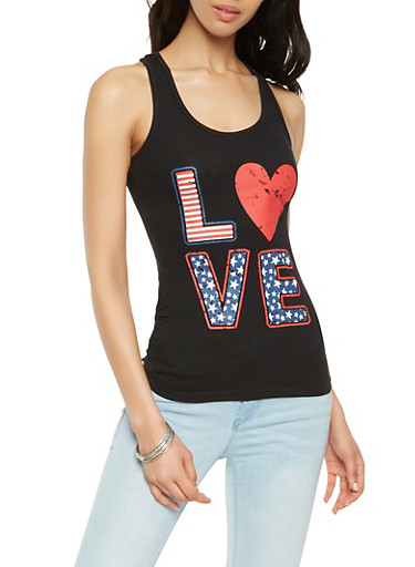 Love Graphic Americana Tank Top,BLACK,large