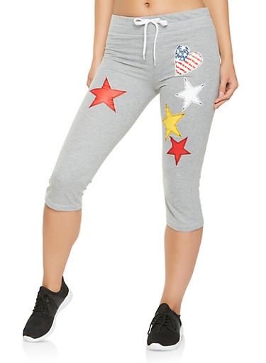 Americana Capri Sweatpants,HEATHER,large