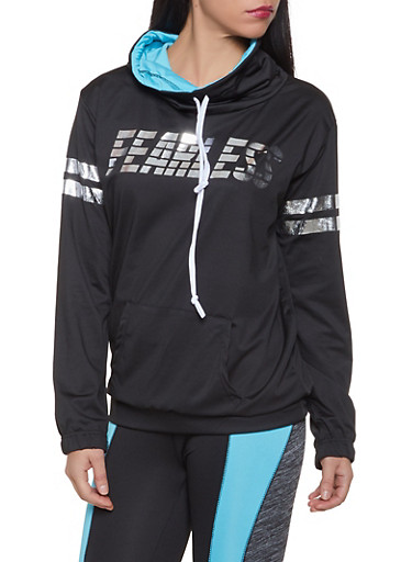 Fearless Funnel Neck Active Sweatshirt,TURQUOISE,large