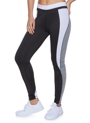 Color Block Active Leggings,BLACK/WHITE,large